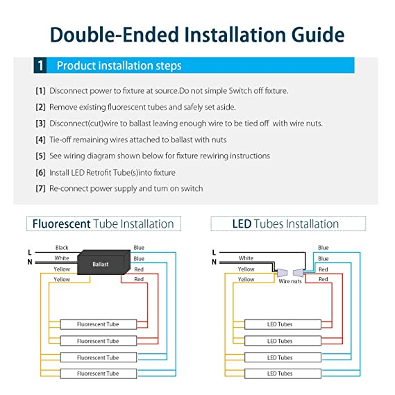 wiring diagram for led t8 bulb retrofit trusted wiring diagrams tube led retrofits t8 led tube light, dual end powered 4ft led bulbs, 18w 2000lm, 6000k wiring diagram for led t8 bulb retrofit