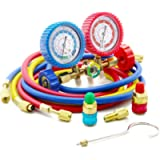 Raomdityat 1PC Diagnostic Manifold Gauge Kit Ideal for R134A, R12, R22, R502 Refrigerants 5FT
