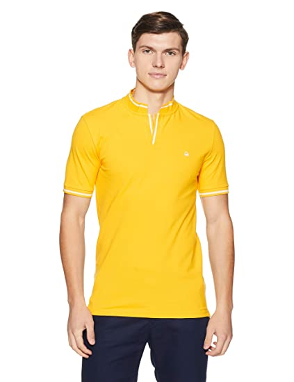 357d8abce1e United Colors of Benetton Men s Solid Regular Fit Polo  (18A3069J3040I 09Y S Spectra Yellow Spectra Yellow)