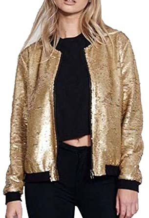 a457f1e86 REAL LIFE FASHION LTD. Ladies Sequin Glitter Zip up Bomber Jacket ...