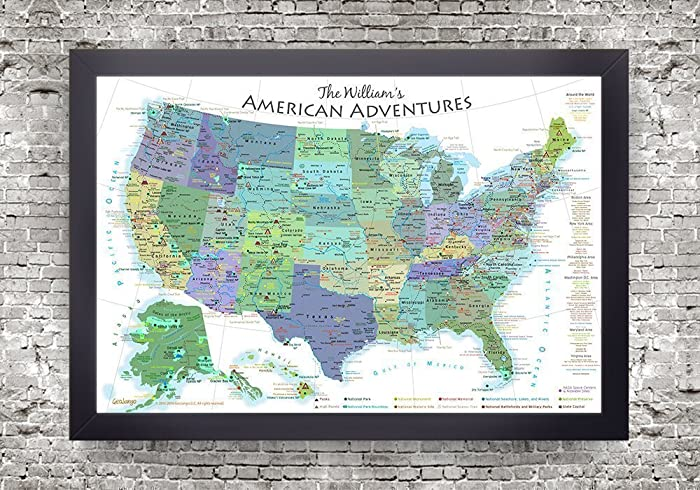 Amazoncom National Parks Map Map Of The US Push Pin Map Bright - Large framed us map