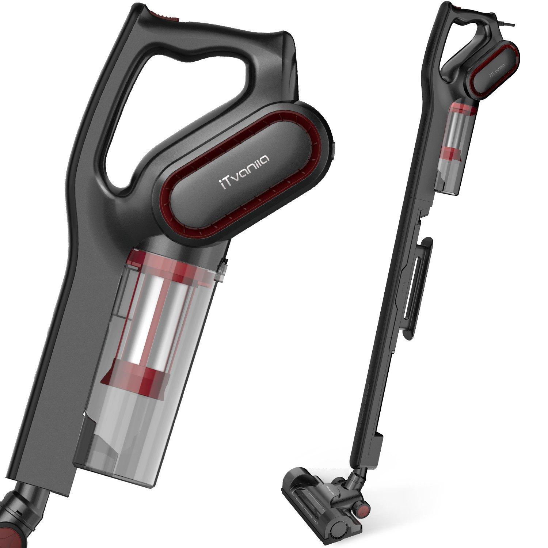 iTvanila Vacuum Cleaner,Stick Bagless Vacuum Cleaner, 600W Lightweight Corded 2 in 1 Handheld Vacuum with HEPA Filtration for Hard Floor Pet Hair Cleaning VAC-C1