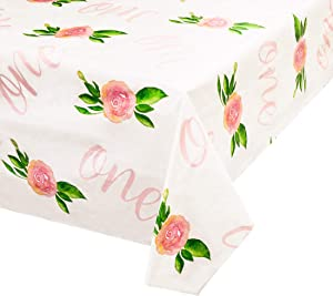 Blue Panda 3-Pack 1st Birthday Floral Rectangle Party Tablecloth, Plastic Table Cover, 108 x 54 Inches