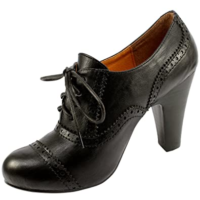 Womens Black Lace Up Brogue High Heeled Shoe Boots: Amazon.co.uk ...
