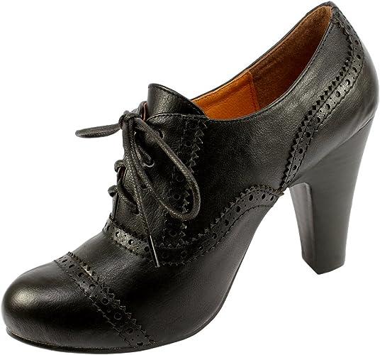 Womens Black Lace Up Brogue High Heeled