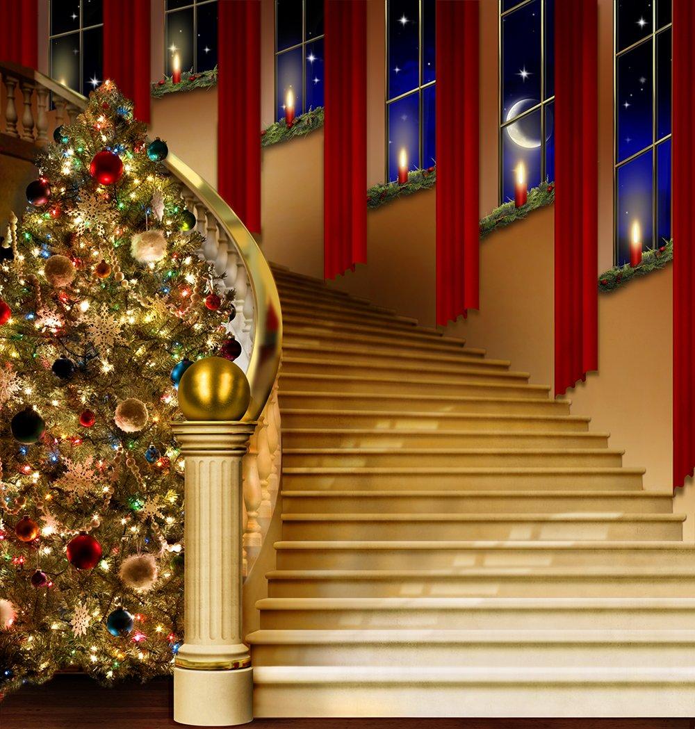 写真バックドロップ – Holiday Staircase – 10 x 10 ft。 – 100 %シームレスなポリエステル   B00OI9465Y