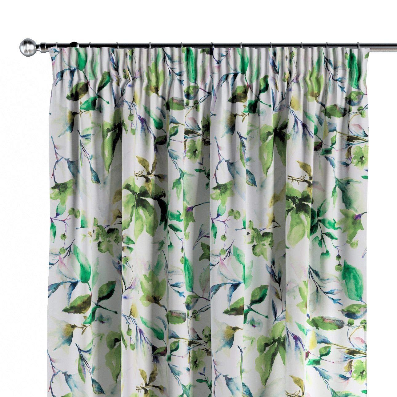 Dekoria Vorhang mit Kräuselband Dekoschal Blickdicht 1 Stck. 130 × 260 cm weiß-grün Maßanfertigung möglich