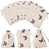 PandaHall Elite - 50 bolsas de algodón con cierre de mariposa, bolsas de regalo para bodas, proyectos de manualidades, regalo