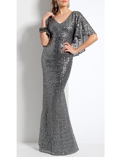 Amazon.com: OYISHA Womens Long Elegant Evening Dresses Sequins Formal Dress Sleeve SQ30: Clothing