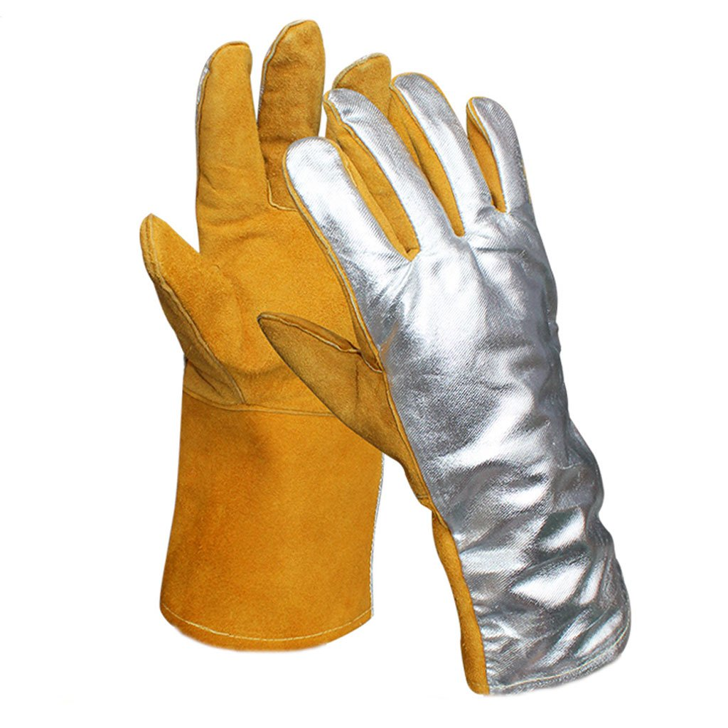 MOOLO Fireproof gloves Aluminum Foil Gloves 250-300 Degree High Temperature Resistance Insulation Radiation Protection Heat Resistant Baking Gloves