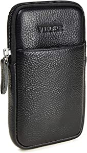 VIIGER Vertical Leather Cell Phone Pouch Cellphone Belt Case Smartphone Holster Belt Loop Pouch Bag Dual Phone Case Holder w/ Clip for Men Compatible with iPhone 12 Pro Max 6 Plus 7 Plus 8 Plus,Black