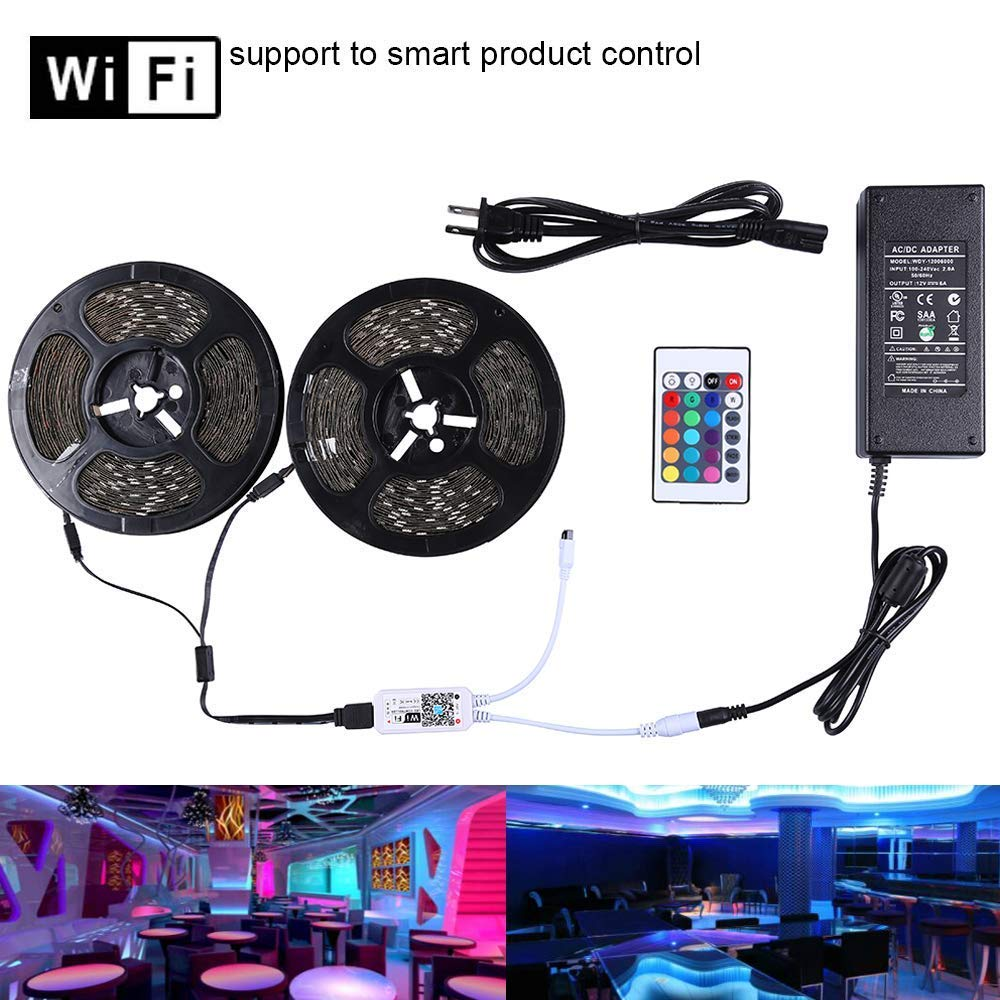 Miheal LED Light Strip, WiFi Wireless Smart Phone Controlled Strip Light Kit 65.6ft 5050 RGB 600LEDs Lights with DC12V UL Rope Light,Working with Android and iOS System,IFTTT, Google Assistant ...