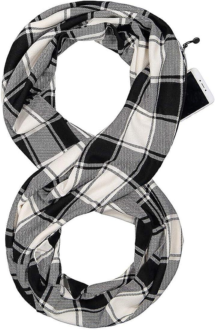 Simoda Foulard femme /à carreaux infinity hiver /écharpes douces et chaudes avec une poche cach/ée secr/ète