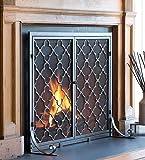 Plow & Hearth Large Steel Geometric Fireplace