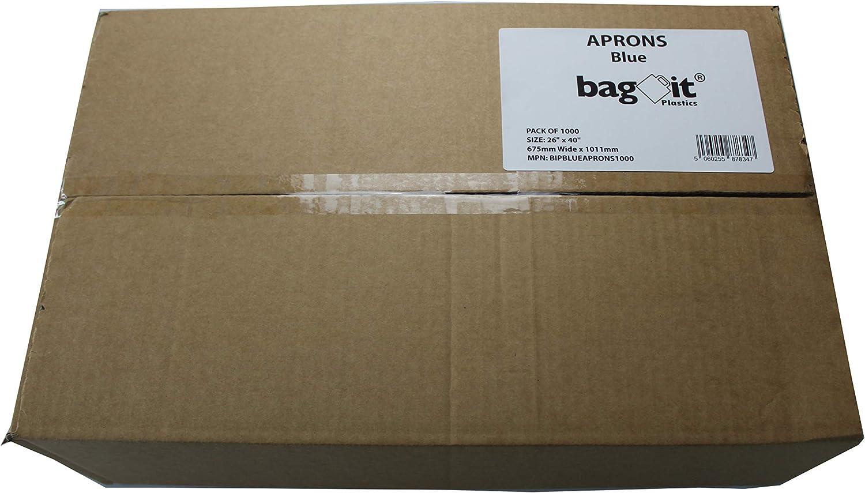 bag it Plastics Disposable Blue Polythene Aprons with Halter Neck 500 Pack of