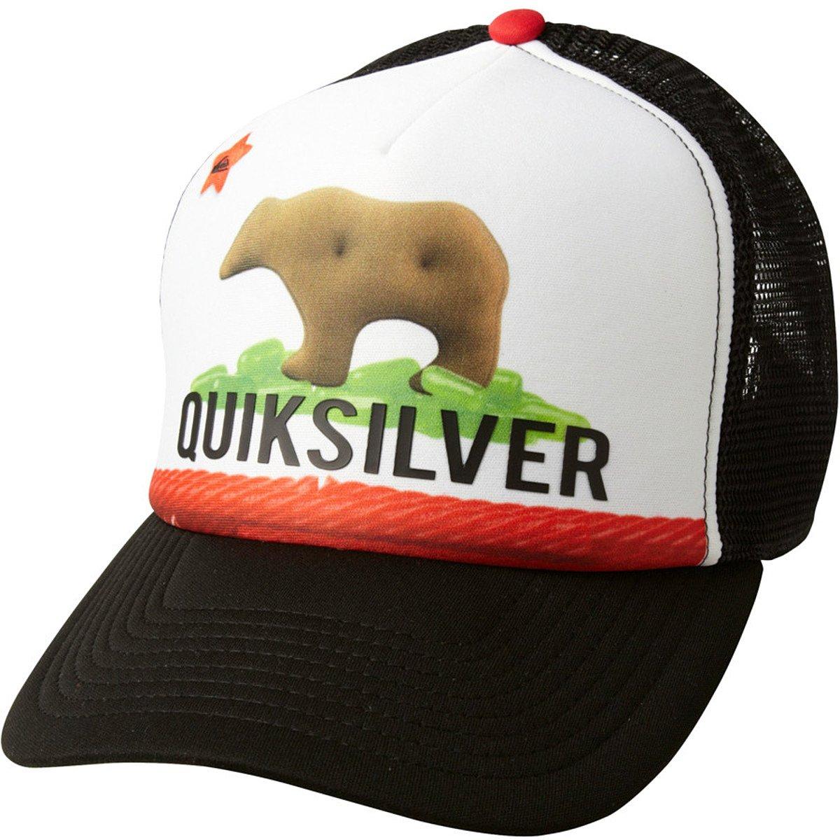 Quiksilver Candy Animal Cracker California Bear Flag Terg Ferg Mesh Foam Trucker Snapback Cap Hat (Black-White)