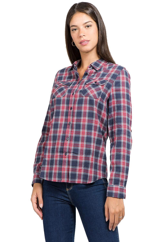 1800 muselooks Women's LongSleeve Button Up ClassicFit Lightweight Plaid Flannel Shirt Red