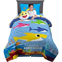 Franco Kids Bedding Super Soft Comforter with Sheets and Plush Cuddle Pillow Set, 5 Piece Twin Size, Baby Shark