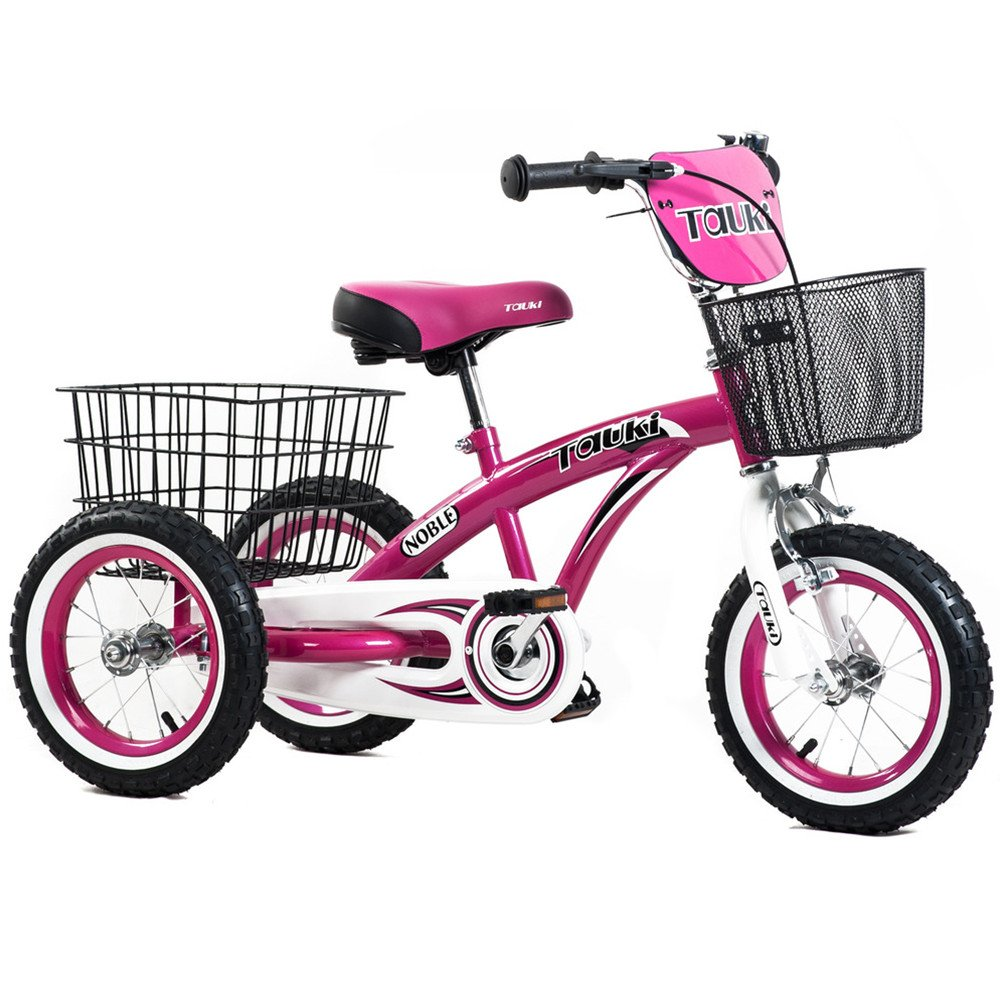 Tauki 12 Inch Kids Tricycle, Front and Rear Baskets, Hand Brake by Tauki