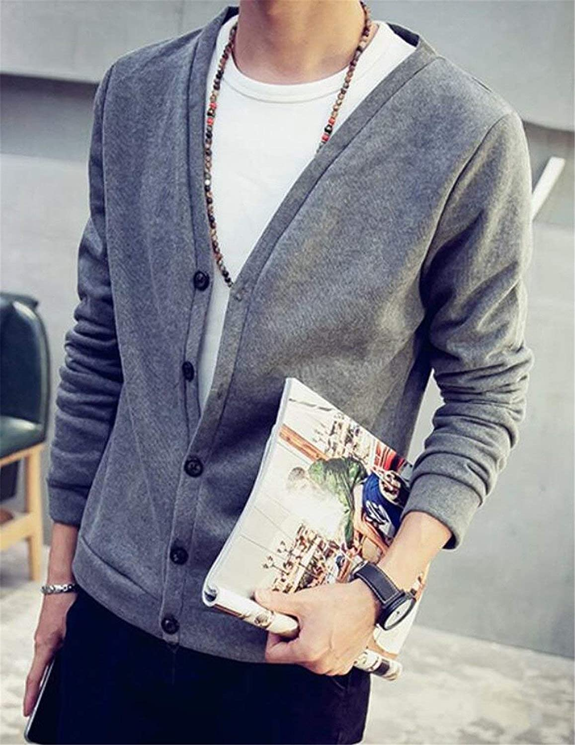 SELX-Men Solid Knit Long Sleeve Front Botton Casual Sweater Cardigan