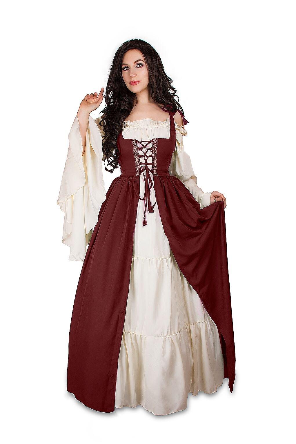 Mythic Renaissance Medieval Irish Costume Over Dress & Cream Chemise Set (L/XL, Burgundy) by Reminisce