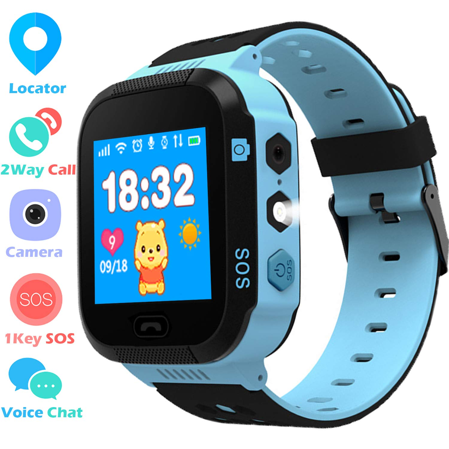 Kids GPS Tracker Watch for Boys Girls – Smart Wrist Watch with GPS Location SOS Digital Watch Camera Flashlight Games for Children Compatible with iPhone/Android Kids Smartwatch