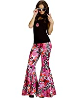 Flower Power Bell Bottoms Adult Costume Peace Flowers Brown