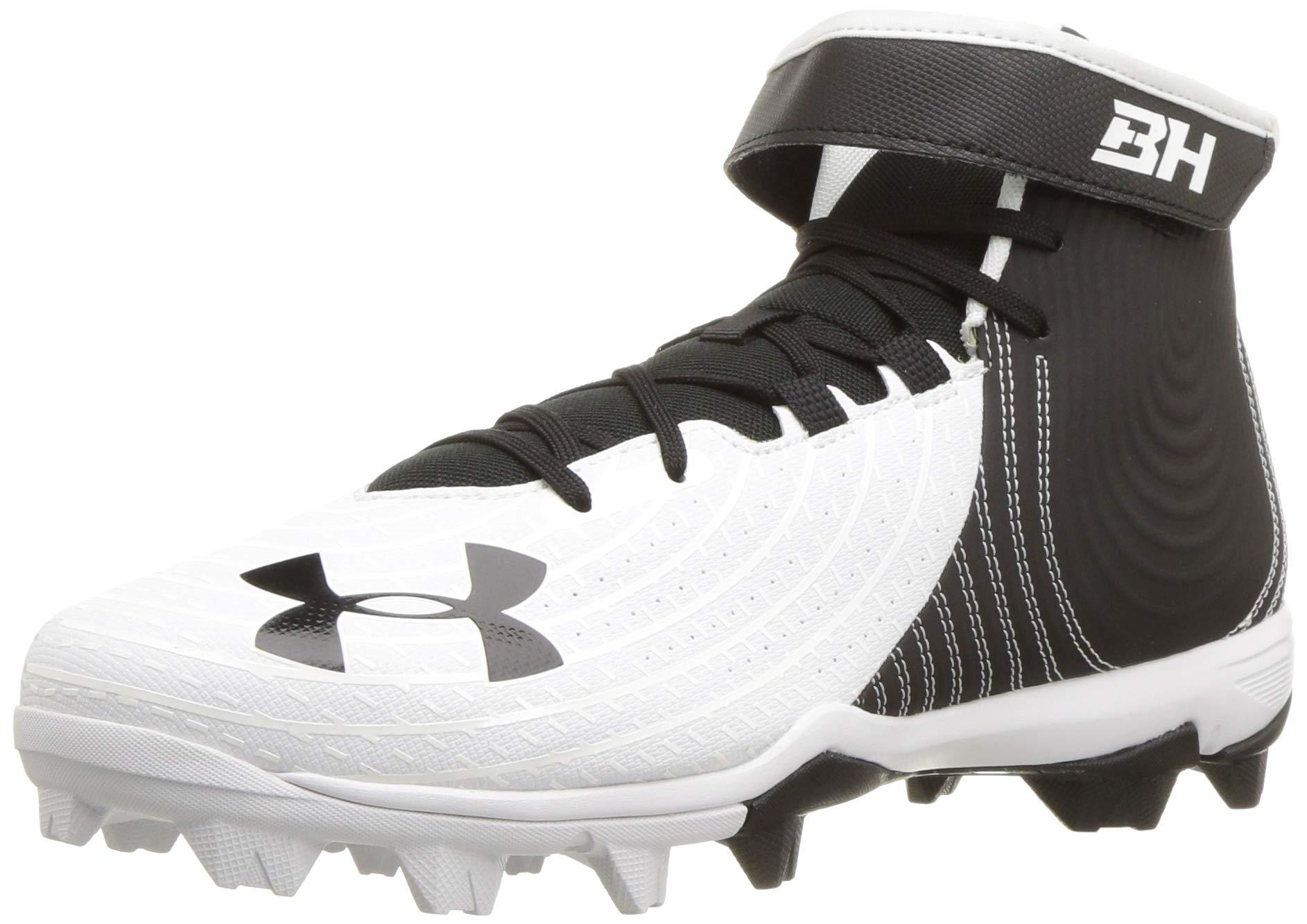 Under Armour Men's Harper 4 Mid RM Baseball Shoe, White//Black, 9 by Under Armour