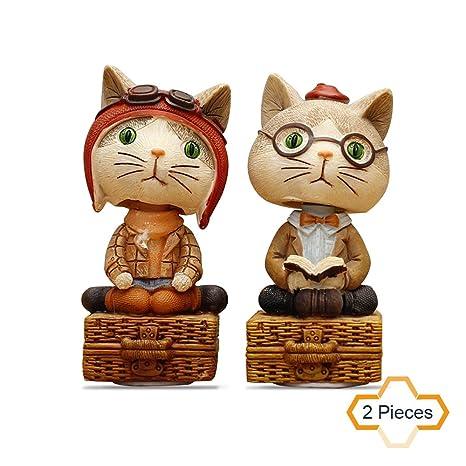 Juego de 2 adornos de gato pintados para decoración de coches, diseño de amantes de