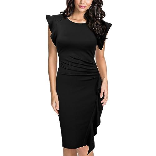 MIUSOL Womens Short Sleeve Ruffle Bodycon Party Dress