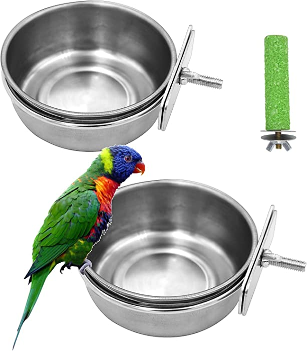 2 Pack Birds Food Dish Parrot Stainless Steel Feeding Cups Bird Feeders Water Cage Bowls with Clamp Holder and 1 Pcs Bird Stand Toy for Parakeet Conure Cockatiels Lovebird Budgie Chinchilla (2 Pack)