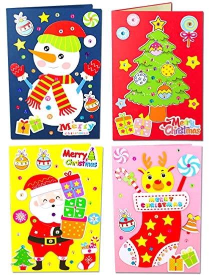 Easy Christmas Cards Designs.Amazon Com Mimgo Shop Diy Handmade Christmas Cards Making Kits With