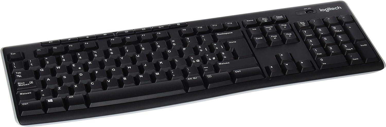 Logitech K270 Teclado Inalámbrico para Windows, Disposición QWERTY Italiano, Negro