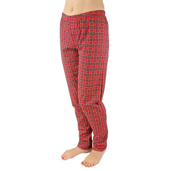 305407c9ac4c7c Alkato Damen Schlafanzughose Lang Schlafhose 100% Baumwolle , Farbe:  Karomuster Rot, Größe: