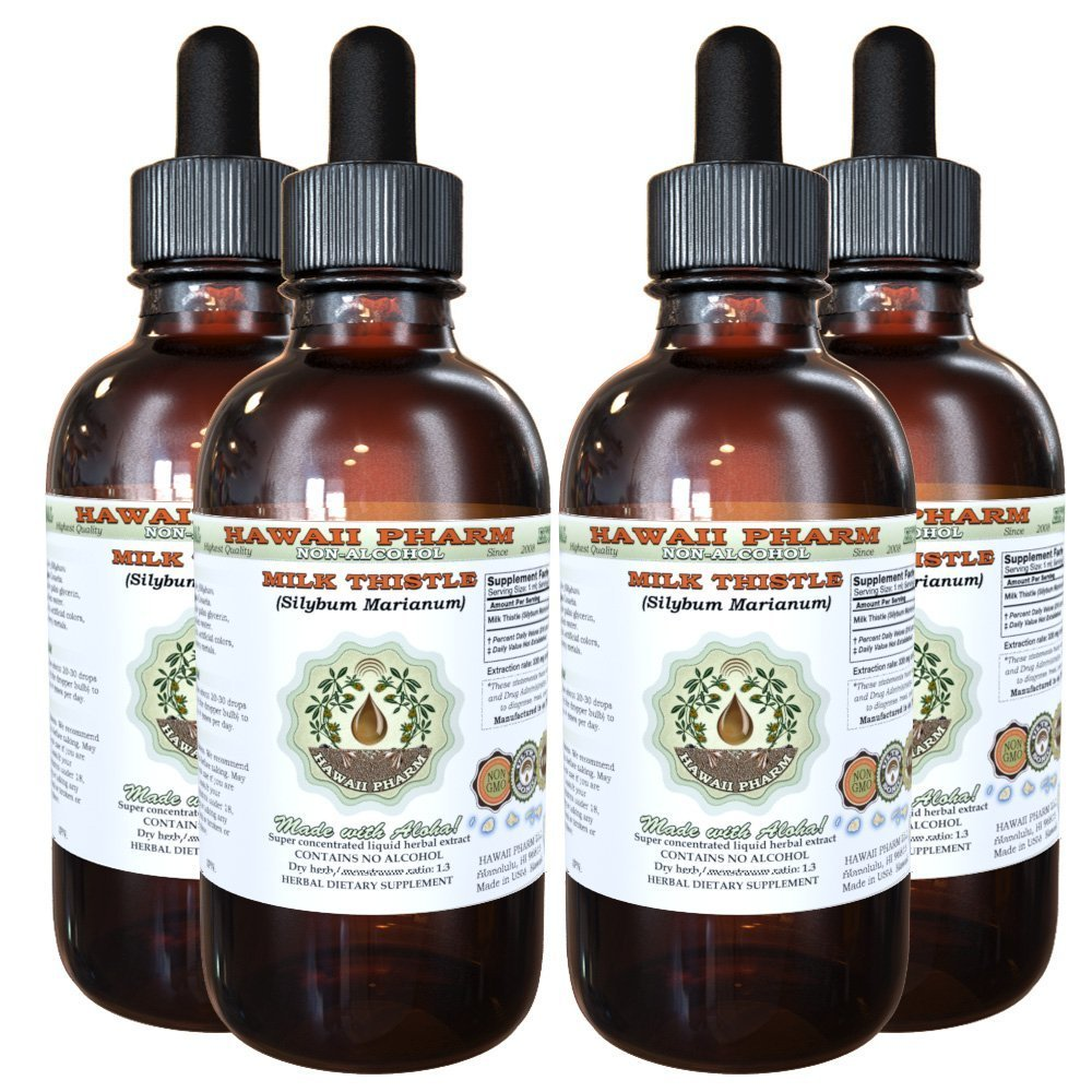 Milk Thistle Alcohol-FREE Liquid Extract, Organic Milk Thistle (Silybum marianum) Dried Seed Glycerite 4x4 oz