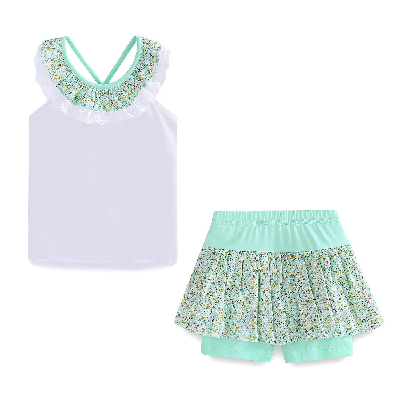 LittleSpring Toddler Girls Summer Outfit Floral Top