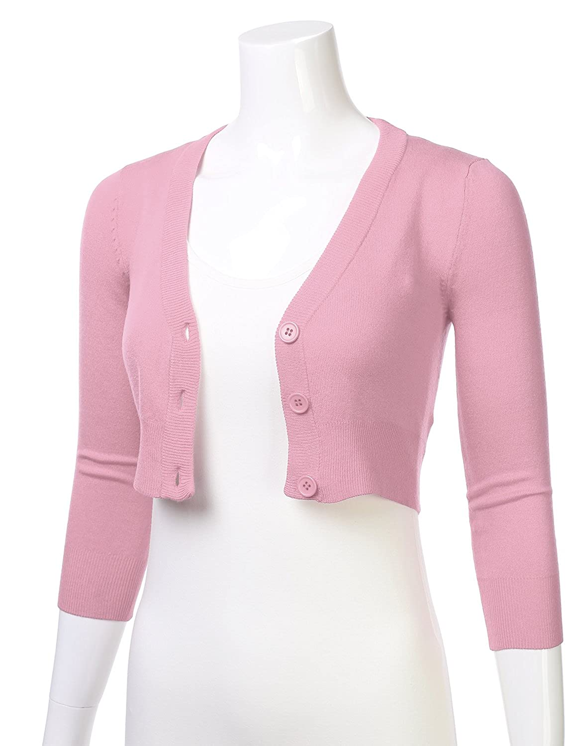 f00d8beda28bb9 S-4X FLORIA Womens Solid Button Down 3/4 Sleeve Cropped Bolero Cardigan  Sweater Sweaters