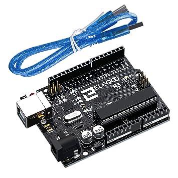 ELEGOO UNO R3 Tarjeta Placa ATmega328P ATMEGA16U2 con Cable USB y Microcontrolador Compatible con Arduino IDE Proyectos Cumple con RoHS