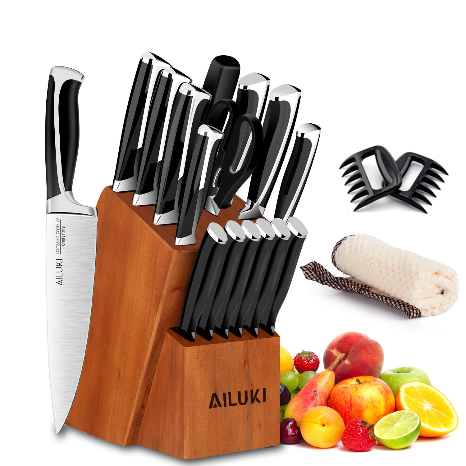 Knife Set, Kitchen Knife Set with Block, AILUKI 19 Pieces Stainless Steel Knife Set, Ergonomic Handle for Chef Knife Set with Gift Box, Ultra Sharp, Best Choice for Cooking by AILUKI