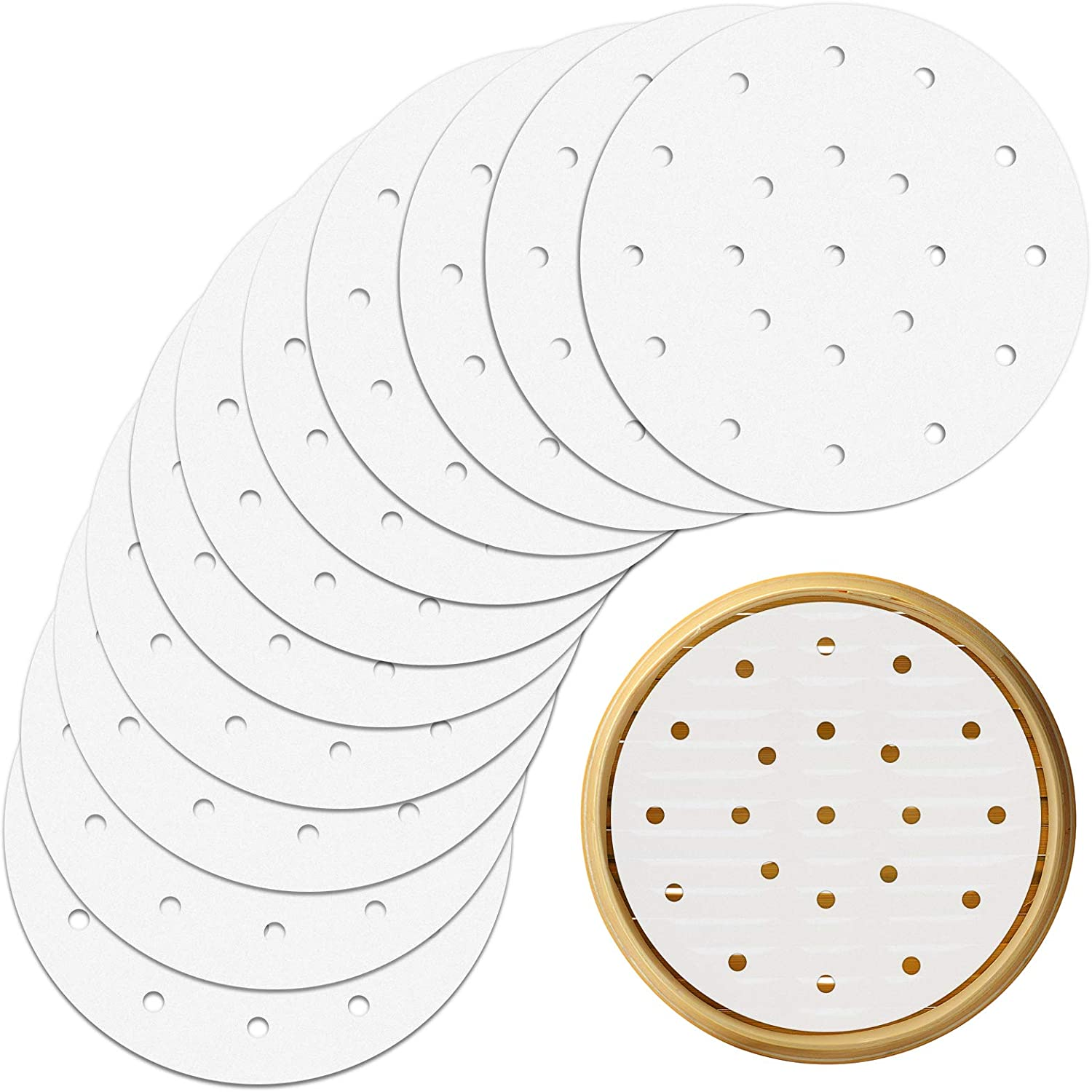 400pcs Air Fryer Liners, 8 inches Round Bamboo Steamer Liners, Premium Perforated Parchment Steaming Papers, Non-Stick Steamer Mat, Perfect for Air Fryers/Bamboo Steamer/Baking/Cooking (8 inch)