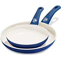 """GreenLife Soft Grip Healthy Ceramic Nonstick, Frying Pan/Skillet Set, 7"""" and 10"""", Blue"""