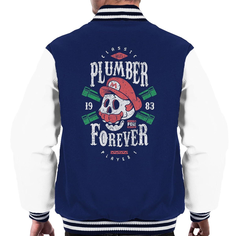 Plumber Forever Mario Super Mario Bros Men's Varsity Jacket