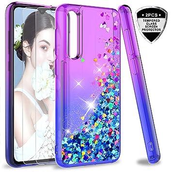 LeYi Funda Xiaomi Mi 9 Silicona Purpurina Carcasa con [2-Unidades Cristal Vidrio Templado], Transparente Cristal Bumper Gel TPU Fundas Case Cover para ...