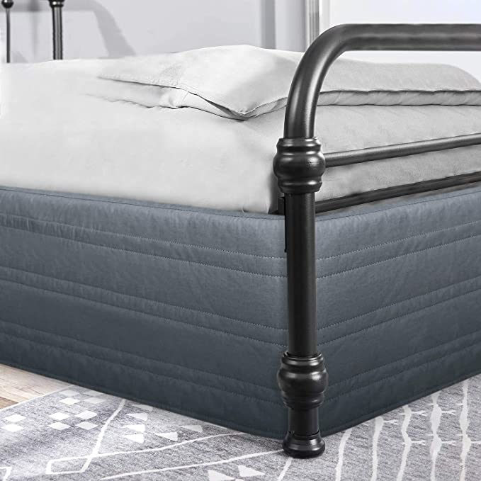 "Queen,Blacck Wrink and Fade Resistant Dust Ruffle with 13 inch Tailored Drop,60/"" /×80/'/' Hang Down Feeling Enhancement,Ultra Soft,Dust-Proof MARQUESS Bed Skirt Polyester Blended Quilted"