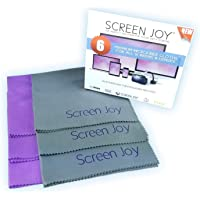 Screen Joy - Microfiber Screen Cleaning Cloths - Large (12x12) Ultra Fine Quality Cloths - Wonderful for Lenses, Eyeglasses, Flat Screen TVs (Plasma, LCD/LED, UHD), Laptops, Tablets (Including iPads), ALL Smartphones and Much More - 3 pack or 6 Pack