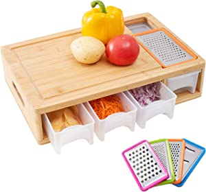WORTHYEAH Bamboo Cutting Board with Trays, Lids and Graters- Wood Chopping Board with Containers, Food Dropping Zone and Vegetable Tray with Lid- Carving Board with Compartments, Handle, Juice Groove