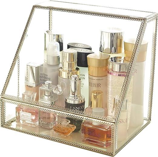 Amazon Com Minopigo Silver Pallete Storage Metal Cosmetic Makeup Organizer Stunning Jewelry Cube Display Perfume Holder Skincare Dustfree Organizer Home Kitchen