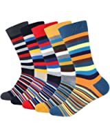 Men's Funky Colorful Argyle Striped Pattern Long Dress Crew Socks For Business Casual