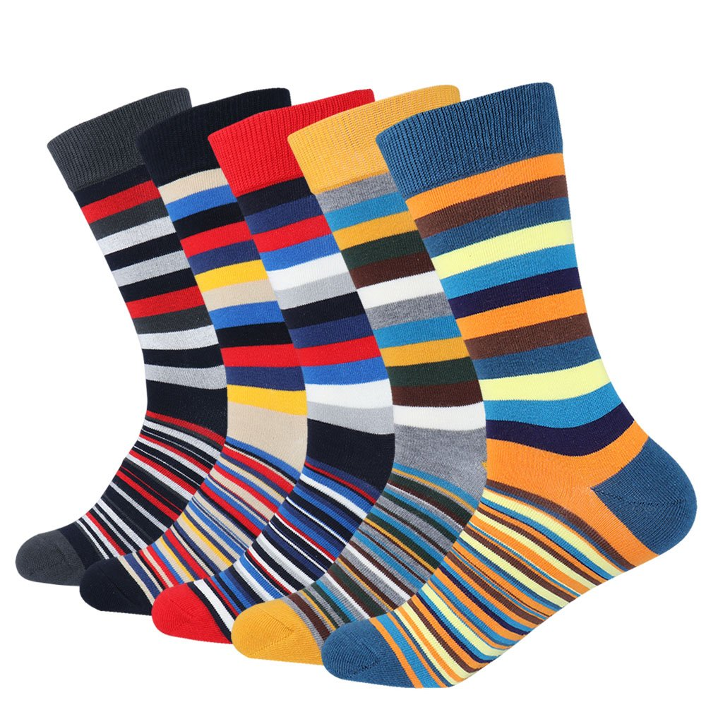 Men's 5-pair Funky Striped Pattern Colorful Casual Cotton Dress Crew Socks For Business