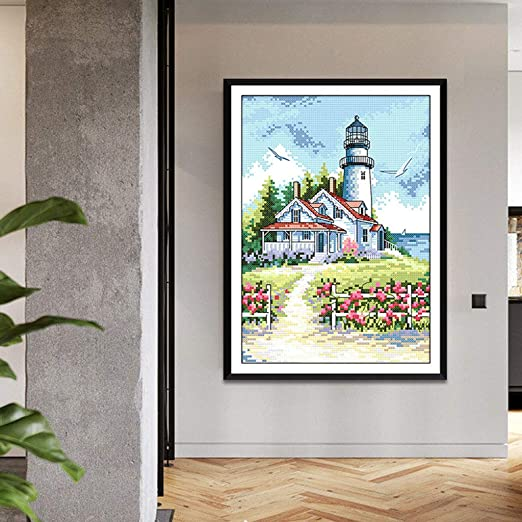 LoveinDIY Seaside Lighthouse Stamped Cross Stitch Kit DIY Embroidery Home Decor 14CT